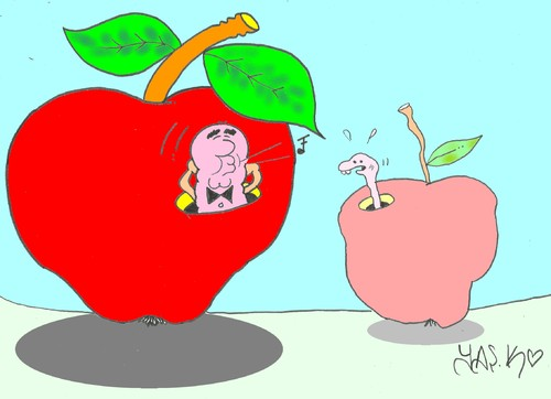 Cartoon: inequality (medium) by yasar kemal turan tagged worm,justice,poor,rich,apple,inequality