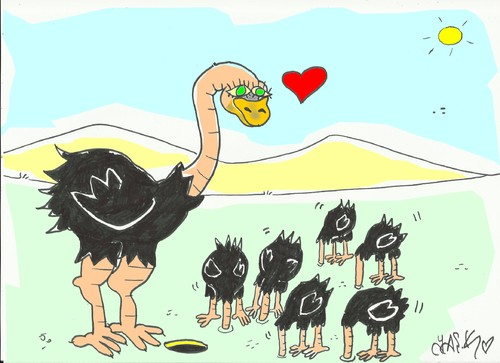 Cartoon: instructor mother (medium) by yasar kemal turan tagged education,teacher,children,baby,ostrich,love,mother
