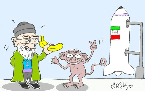 Cartoon: Iranian in space (medium) by yasar kemal turan tagged iranian,in,space