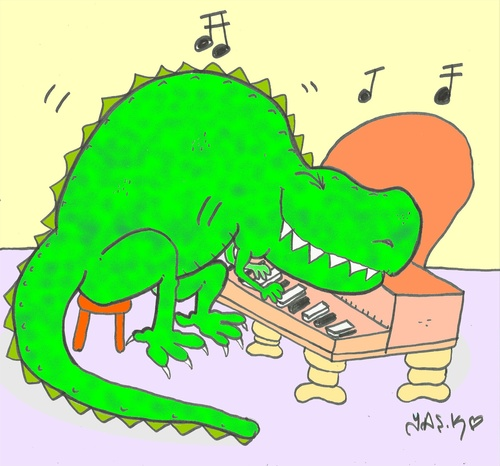 Cartoon: Jurassic music (medium) by yasar kemal turan tagged jurassic,music,dinosaur,love
