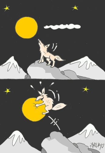 Cartoon: kaparapat (medium) by yasar kemal turan tagged wolf,love,moon,catch