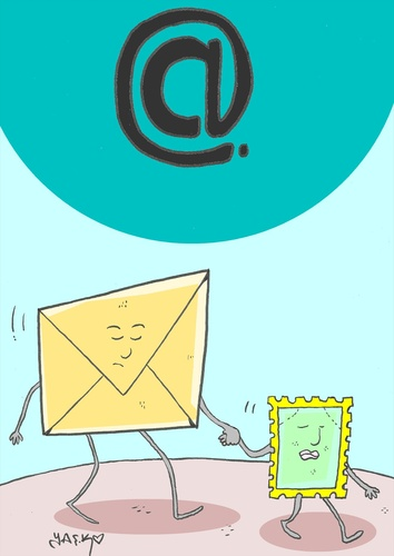 Cartoon: at sign (medium) by yasar kemal turan tagged sign,at,internet,computer,stamp,letter,love,leave
