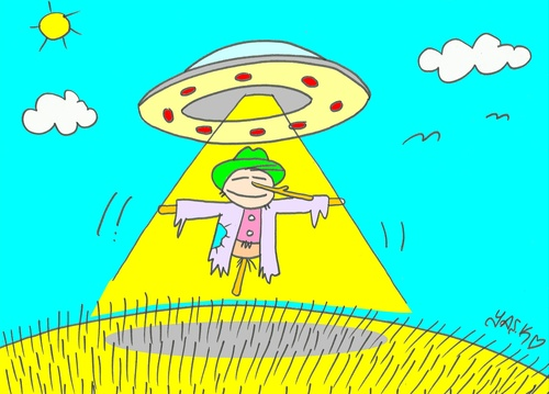 Cartoon: liberation (medium) by yasar kemal turan tagged ufo,railing,liberation