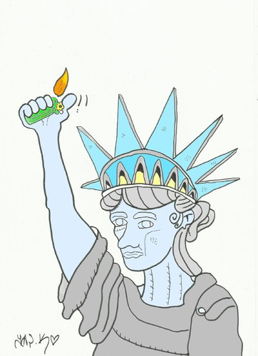 Cartoon: lighter (medium) by yasar kemal turan tagged usa,liberty,of,statue,lighter