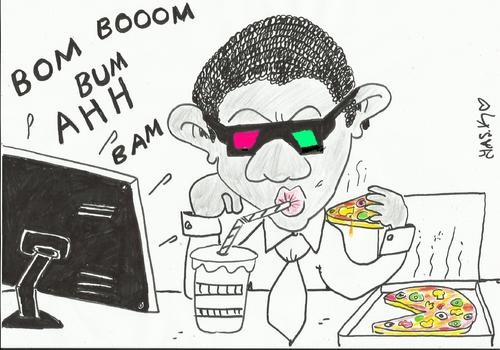 Cartoon: live operation 3D (medium) by yasar kemal turan tagged pizza,obama,laden,bin,pizzapitch