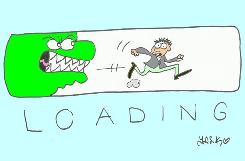 Cartoon: loading (medium) by yasar kemal turan tagged internet,computer,loading