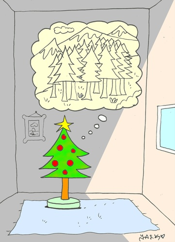 Cartoon: longing (medium) by yasar kemal turan tagged christmas,tree,love,longing,forest