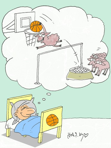 Cartoon: love of basketball (medium) by yasar kemal turan tagged love,of,basketball