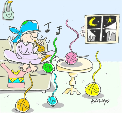 Cartoon: love skein (medium) by yasar kemal turan tagged fakir,skein,love