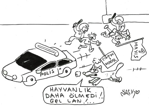 Cartoon: May 1 in Turkey (medium) by yasar kemal turan tagged may,in,turkey