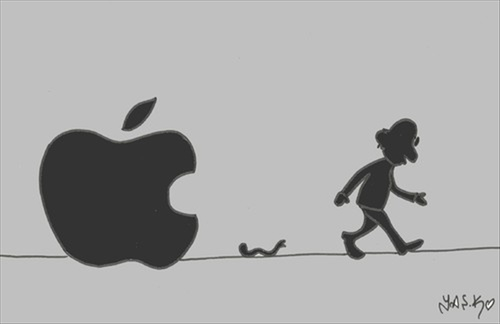 Cartoon: migration (medium) by yasar kemal turan tagged migration,steve,jobs,angel,apple,dead,love