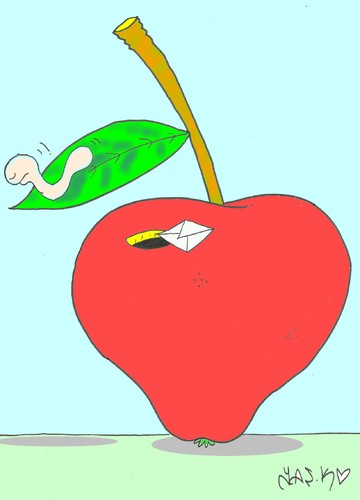Cartoon: drug-free agriculture (medium) by yasar kemal turan tagged worm,pesticide,drug,apple,farming,natural