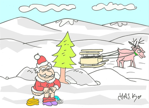 Cartoon: need (medium) by yasar kemal turan tagged need,father,christmas,toilet
