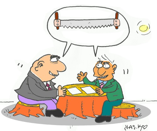 Cartoon: negotiation table (medium) by yasar kemal turan tagged negotiation,table