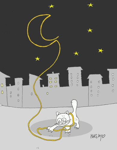 Cartoon: night game (medium) by yasar kemal turan tagged night,game