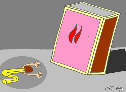 Cartoon: obedience (medium) by yasar kemal turan tagged fire,match,obedience,matches
