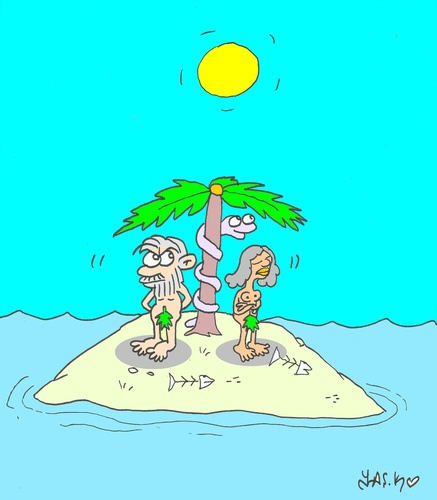 Cartoon: offended (medium) by yasar kemal turan tagged offended,adam,eve,love,island