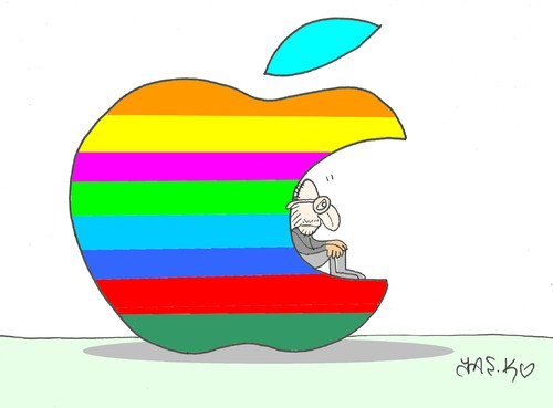 Cartoon: one man- Jobs (medium) by yasar kemal turan tagged apple,steve,jobs,resignation,ceo