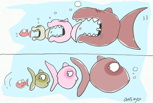 Cartoon: one one (medium) by yasar kemal turan tagged one,fish