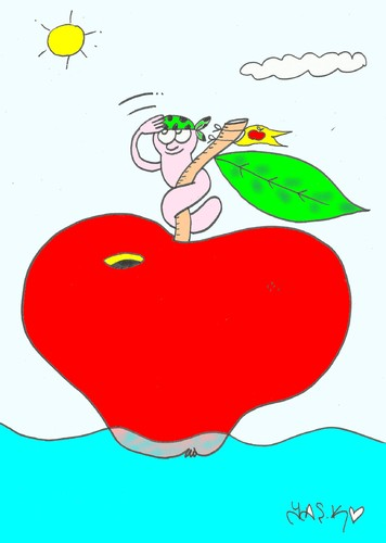 Cartoon: pirate (medium) by yasar kemal turan tagged sea,worm,apple,pirate,ship