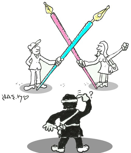 Cartoon: power of the pen (medium) by yasar kemal turan tagged power,of,the,pen