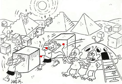 Cartoon: pyramids and ufo (medium) by yasar kemal turan tagged ufo,and,pyramids
