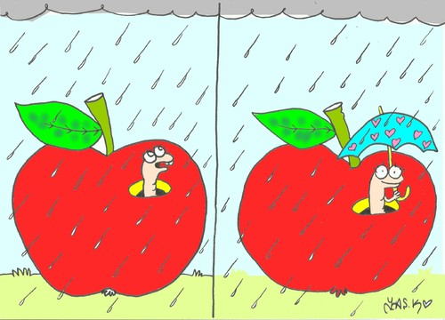 Cartoon: rain (medium) by yasar kemal turan tagged love,cloud,umbrella,worm,apple,rain