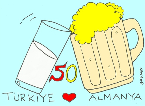 Cartoon: raki beer (medium) by yasar kemal turan tagged germany,turkey,raki,beer