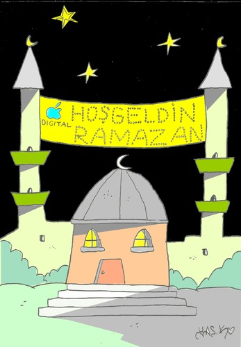 Cartoon: Ramadan-fast (medium) by yasar kemal turan tagged digital,iphone,ramazan,mahya,muslim,islam,fast,ramadan,apple