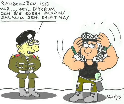 Cartoon: Iss and Rambo (medium) by yasar kemal turan tagged head,rambo