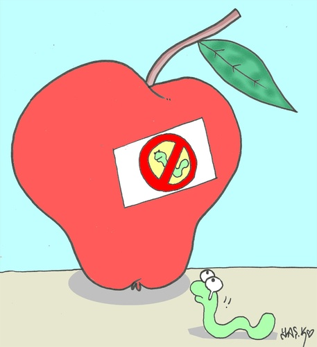 Cartoon: selfishness-pesticides (medium) by yasar kemal turan tagged pesticides,hormone,worm,natural,apple,love,selfishness