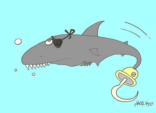 Cartoon: shark (medium) by yasar kemal turan tagged sea,shark,pirate