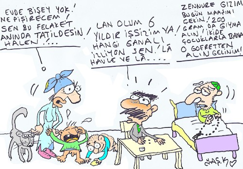 Cartoon: shortage of livelihoods (medium) by yasar kemal turan tagged shortage,of,livelihoods