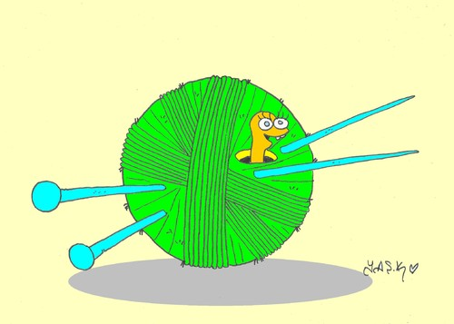 Cartoon: skein (medium) by yasar kemal turan tagged love,skewer,yarn,rope,worm,skein