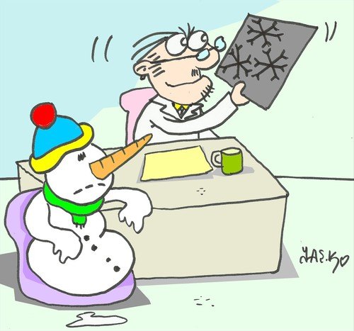 Cartoon: snow disease (medium) by yasar kemal turan tagged snow,disease,snowman,doctor,love