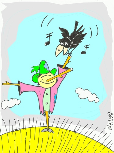 Cartoon: sumur (medium) by yasar kemal turan tagged crow,railing,love