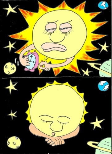 Cartoon: sun went to sleep (medium) by yasar kemal turan tagged hour,star,sleep,to,went,sun
