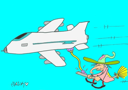 Cartoon: supply (medium) by yasar kemal turan tagged supply,witch,aircraft