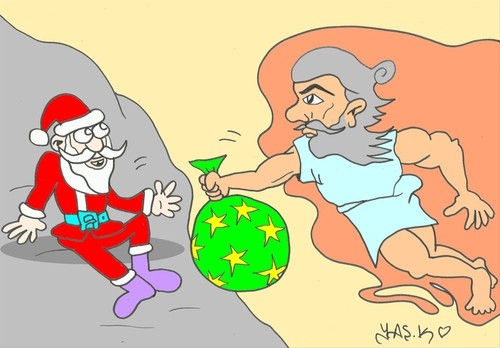 Cartoon: task (medium) by yasar kemal turan tagged father,christmas,gift,adam,deity,task,love