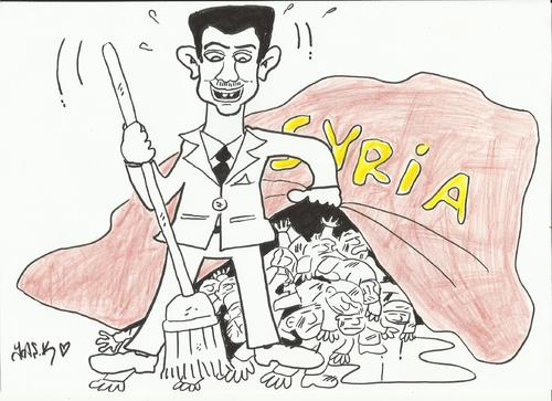 Cartoon: the great magician (medium) by yasar kemal turan tagged coward,blood,wizard,devil,syria,assad,bashar,esad