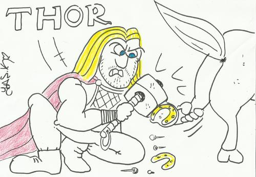Cartoon: !!!!THOR!!!! (medium) by yasar kemal turan tagged thor