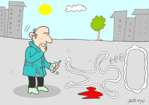 Cartoon: thought (medium) by yasar kemal turan tagged thought,crime,scene,death