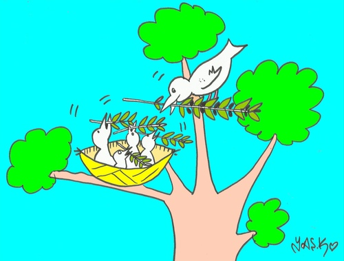 Cartoon: trained pigeons (medium) by yasar kemal turan tagged trained,pigeons,peace,olive,branch,love