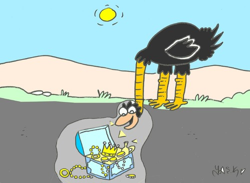 Cartoon: treasure (medium) by yasar kemal turan tagged treasure,ostrich