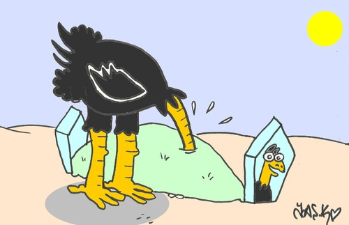 Cartoon: visit (medium) by yasar kemal turan tagged visit,ostrich,grave,love