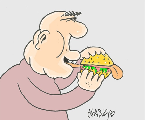 Cartoon: voracious (medium) by yasar kemal turan tagged language,hamburger,voracious,fesbuk