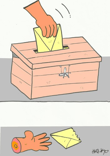Cartoon: voter and vote (medium) by yasar kemal turan tagged voter,vote,choice,healthy