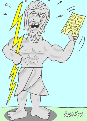 Cartoon: zeus-Greek crisis (medium) by yasar kemal turan tagged greece,economy,zeus,crisis,greek