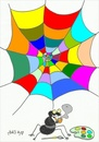 Cartoon: artist-colors (small) by yasar kemal turan tagged artist,spider,network,colors