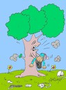 Cartoon: awareness of the tree (small) by yasar kemal turan tagged awareness,of,the,tree